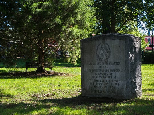 "August 18, 2017 - On the west side of the Collierville Town Square a marker was given to the town from the ""United Daughters of Confederacy"" in memory of the Civil War battles fought in Collierville. The last line on the stone reads ""Confederate Park."" Collierville Mayor Stan Joyner insists that the square was never officially named Confederate Park. ""We have Fair on the Square. We don't have Fair on Confederate Park,"" Joyner said."
