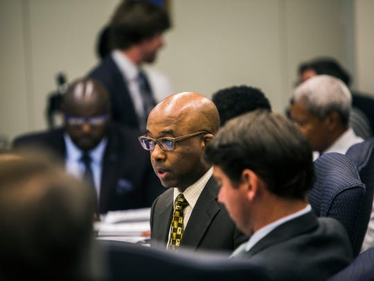 Memphis City Council member Martavius Jones, center, is rallying opposition to a proposal to de-annex parts of the city.