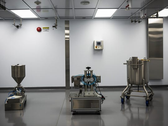 September 8, 2017 - A custom modular cleanroom inside The University of Tennessee Health Science Center's upcoming drug-manufacturing center at 208 S. Dudley St.