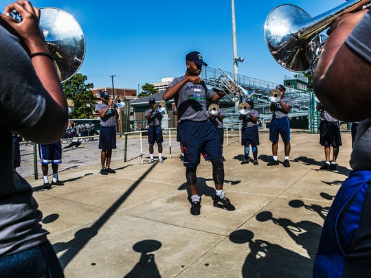 September 8, 2017 - Roger Thompson, 23, the mellophone section leader, conducts as his group plays scales during practice for Jackson State University's Sonic Boom of the South marching band rehearsal at Central High School on Friday. The group is in town from Jackson, Mississippi for the 28th annual Southern Heritage Classic.