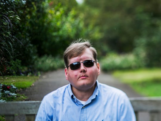 "Face transplant recipient Pat Hardison, 43, poses for a portrait before speaking at the Mid-South Transplant Foundation's annual ""Celebration of Life"" event at the Memphis Botanic Garden on Oct. 22, 2017. The Senatobia, Miss., volunteer fireman was burned beyond recognition while fighting a house fire Sept. 5, 2001."