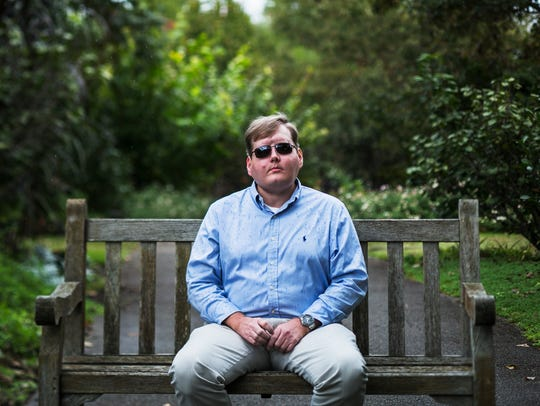"Face transplant recipient Pat Hardison, 43, poses for a portrait before speaking at the Mid-South Transplant Foundation's annual ""Celebration of Life"" event at the Memphis Botanic Garden Oct. 22, 2017."