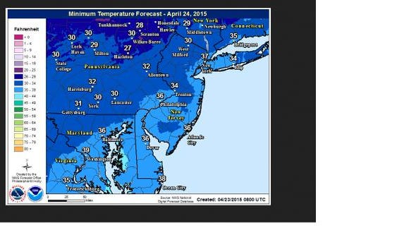 Lows forecast for Friday, April 24