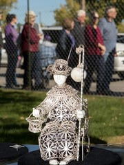 The silversmithing skills of Juan Lopez of Albuquerque are showcased in his ornate statue of El Niño de Atocha.