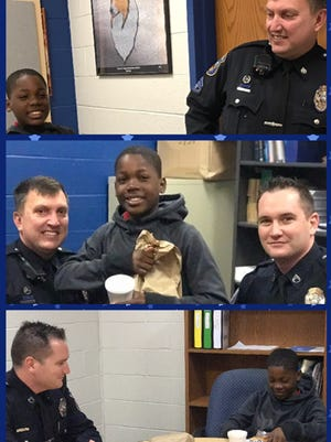 Wilmington Police Officers Lorne Peterson and Bobby Steele purchase Nascir Dixon's breakfast, and then delivered it to him at school.