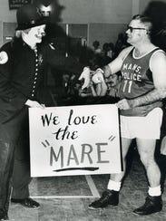 Mansfield Patrolment Joe Schivinski, costumed as a