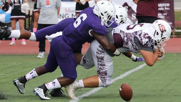 New Rochelle's Jared Baron knocks the ball loose from