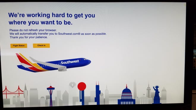 A picture of the error message that appears on southwest.com during the site outage.