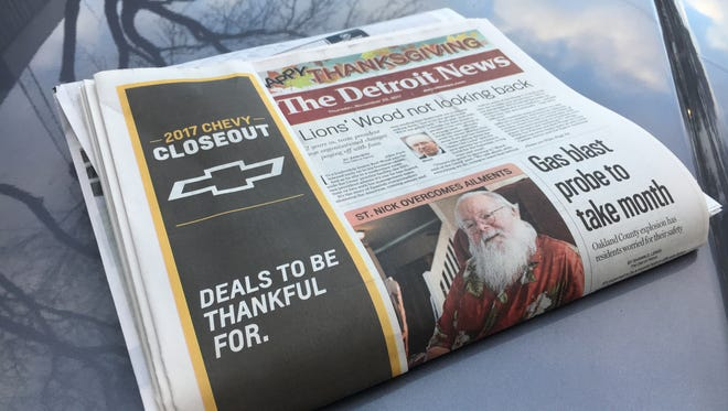 The Thanksgiving Day edition of The Detroit News will be available a day early.