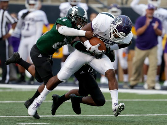 Detroit Cass Tech was unable to slow a Pickering (Ohio) Central ball carrier at the University of Toledo on Friday, Aug. 24, 2017.