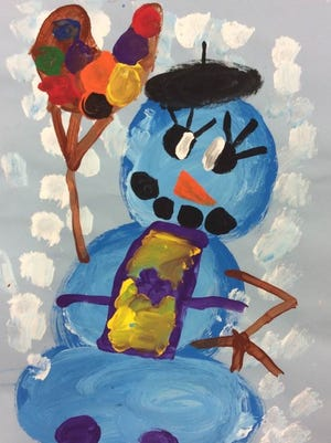 """Artist Snowman"" by Weston Elementary's Leah Camarato, age 6, is part of a Youth Art Month Exhibition in February in Marshfield."