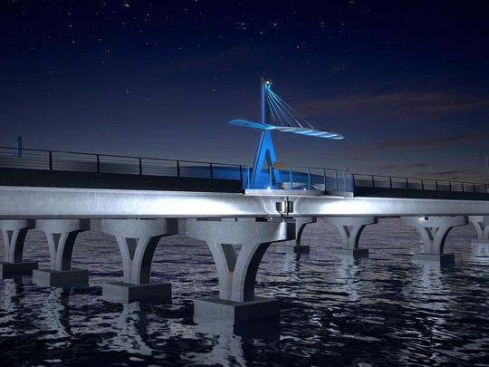 Florida Department of Transportation rendering of the new Pensacola Bay Bridge landing in Gulf Breeze.