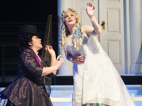 """In Disney's """"The Little Mermaid,"""" they were Ursula and Ariel. In Arizona Opera's """"Rusalka,"""" the characters are the witch Ježibaba ( Daveda Karanas, left) and the rusalka, or water spirit (Sara Gartland)."""