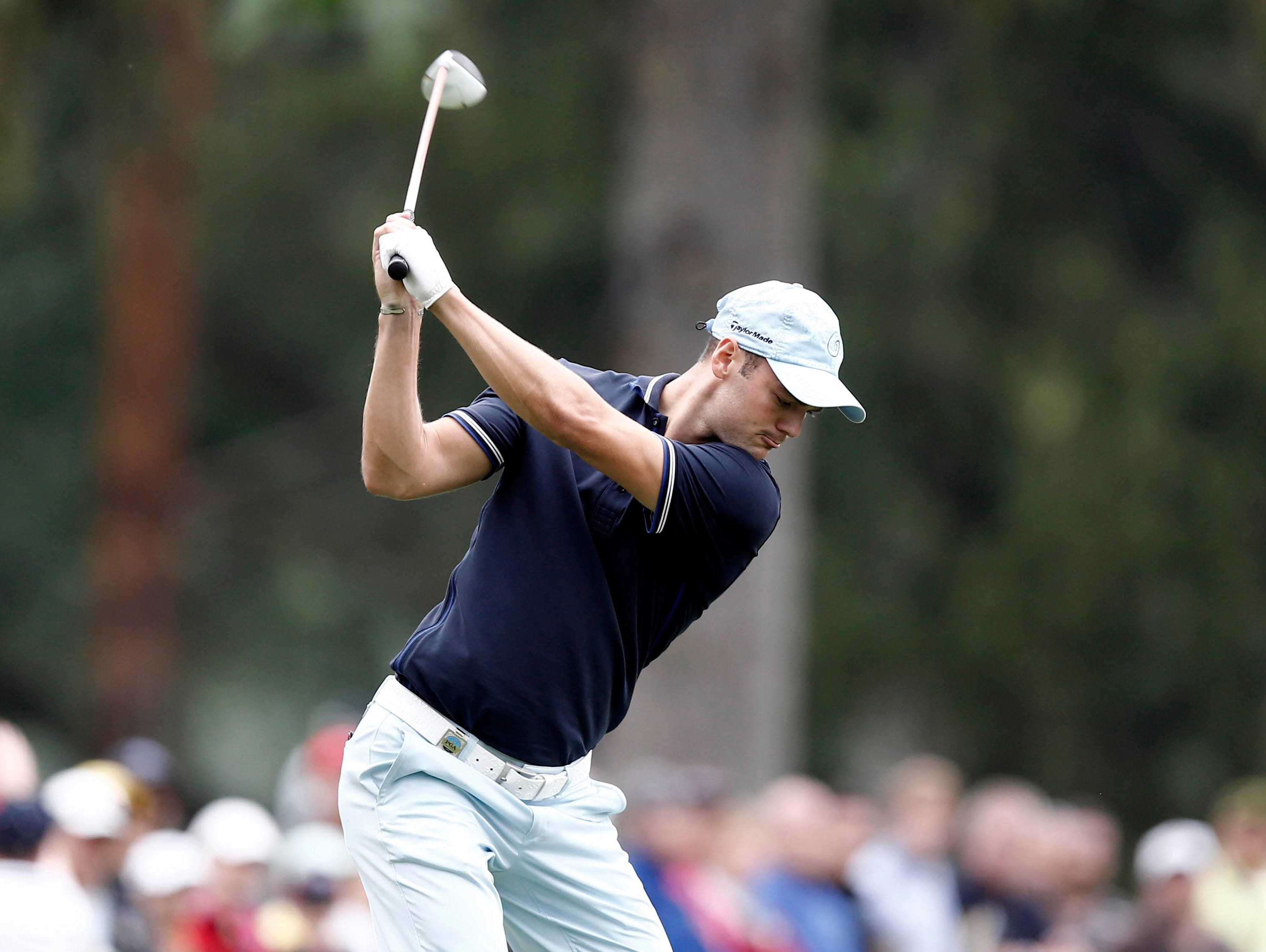 Martin Kaymer tees off on the 7th hole. Kaymer  shot a 2-under 68 and is at 4 under.