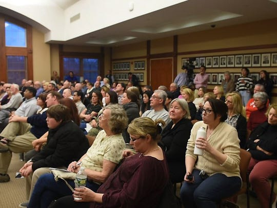 Ridgewood residents listen during the Ridgewood candidate