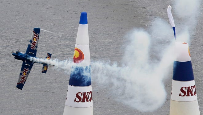 Russia's pilot Sergey Rakhmanin competed May 9, 2010, in the Red Bull Air Race in Guanabara Bay in Rio de Janeiro. The series' racers next year will come to Indianapolis Motor Speedway, with practice Sept. 29-30, qualifications Oct. 1 and racing Oct. 1-2.
