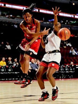 East point guard Crystal Dangerfield, left, from Blackman High School in Murfreesboro, Tenn., passes past West guard Jackie Young from Princeton Community High School in Princeton, Ind., during the McDonald's All-American Girls basketball game, Wednesday, March 30, 2016, in Chicago. (AP Photo/Matt Marton)