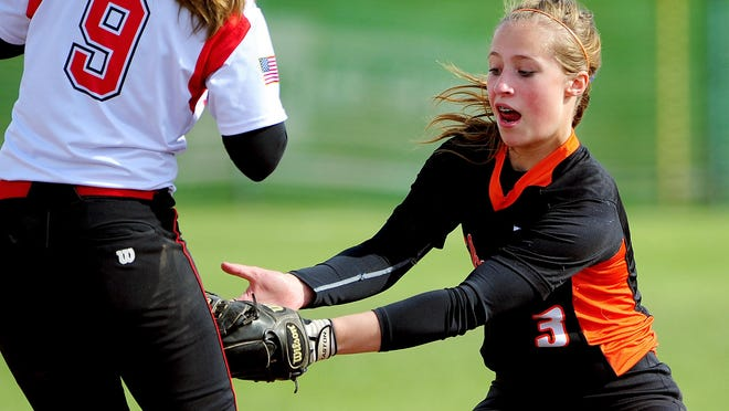 Silverton shortstop Maggie Buckholz tags out a Central base runner in April.
