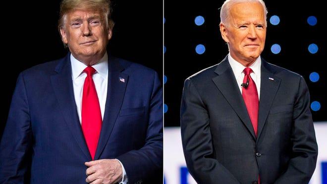 President Donald Trump, left, and former Vice President Joe Biden.