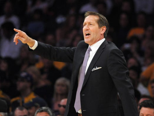 Suns coach Jeff Hornacek gestures during the game against the Los Angeles Lakers at Staples Center.