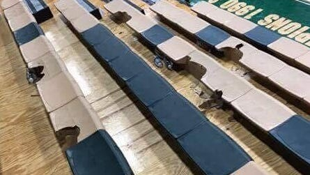 Photos circulating on social media show chunks of the hard-plastic bleachers missing at Reynolds.
