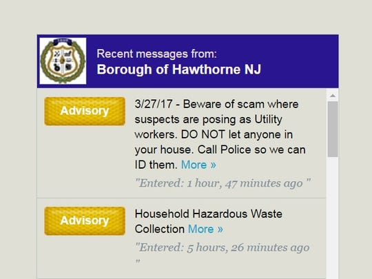 Hawthorne alerts from borough website.