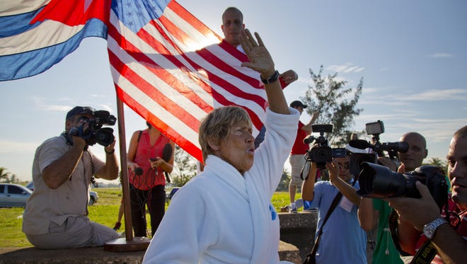 U.S. swimmer Diana Nyad, 64, salutes before her swim from Havana, Cuba, to Key West, Fla., on Saturday.