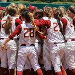 Sydney Broderick drives in the game-winning run for FSU in the 6th inning against South Carolina.