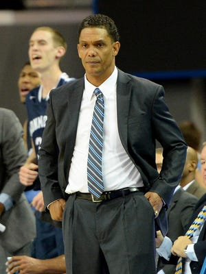 Nov 13, 2015; Los Angeles, CA, USA; Monmouth Hawks head coach King Rice during the first half of the game against the UCLA Bruins at Pauley Pavilion. Mandatory Credit: Jayne Kamin-Oncea-USA TODAY Sports