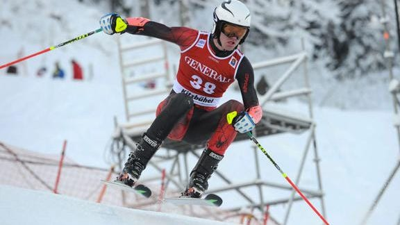 Waitsfield's Ben Ritchie competes in the giant slalom at the Hahnenkamm Juniors event at Kitzbuehel, Austria in January