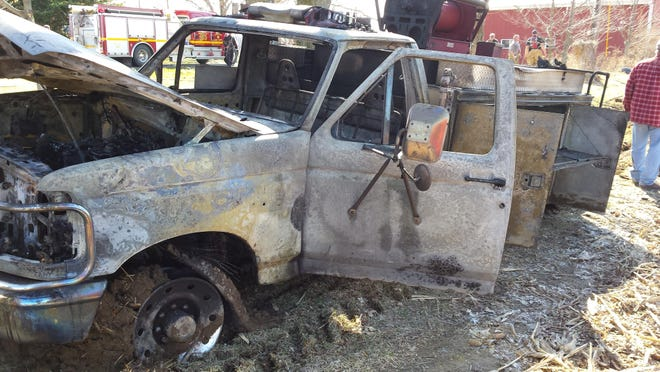 """This was all that was left of the Liberty Volunteer Fire Department's small truck known as the """"grass rig"""" after it caught fire in April 2015."""