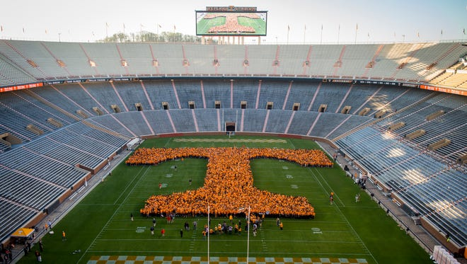 "A Power T made up of 4,223 UT students, alumni and faculty became ""the world's largest human letter"" in Neyland Stadium on March 29, 2017. The ""Today"" show's Al Roker was on hand to witness the event, which was part of Rokerthon, Roker's annual trek across the country to break world records."