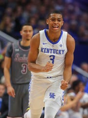 Nov 9, 2018; Lexington, KY, USA; Kentucky Wildcats guard Keldon Johnson (3) reacts during the game against Southern Illinois Salukis guard Marcus Bartley (3) in the first half at Rupp Arena. Mandatory Credit: Mark Zerof-USA TODAY Sports