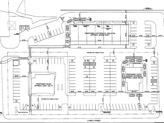 The conceptual layout of the site of the former Budget Cinemas at Highway 100 and Layton Avenue shows the proposed Point Burger Express restaurant at the lower right, a bank at the lower left, both along Highway 100, and a large building that could be home to small stores at the rear.