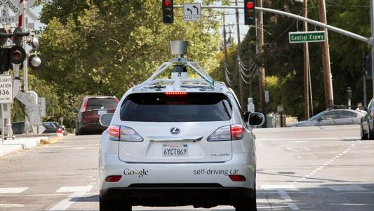 Google's self-driving car on the road in Mountain View, Calif..
