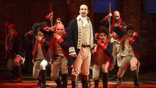 Lin-Manuel Miranda, foreground, with the cast of 'Hamilton,' which got a record-breaking 16 Tony nominations. 'Hamilton' is part of the 2017-18 Willis Broadway Series in Des Moines.