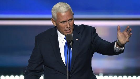 Indiana Gov. Mike Pence, the Republican nominee for vice president, spoke Wednesday, July 20, 2016, during the Republican National Convention at Quicken Loans Arena in Cleveland.