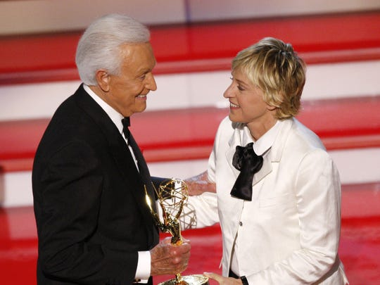 "Bob Barker accepts the award for outstanding game show host, for his work on ""The Price Is Right, from Ellen DeGeneres at the 34th Annual Daytime Emmy Awards in Los Angeles on June 15, 2007."