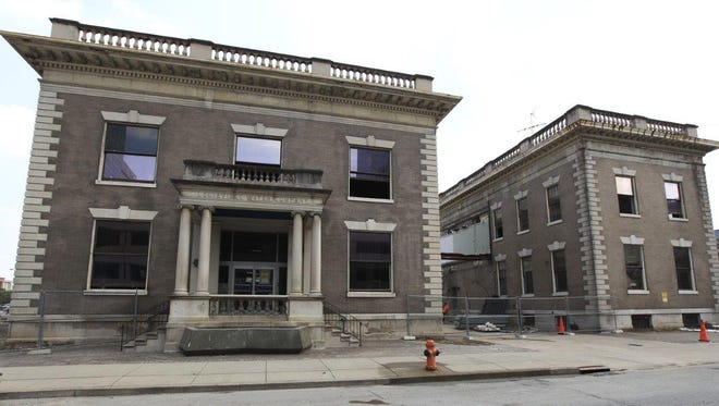 The original 1910 part of the old Louisville Water Co. building, left, is proposed for landmark designation.