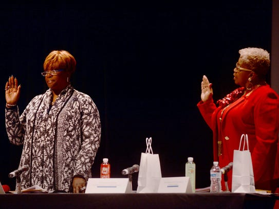 From left, Dr. Iris Taylor and Dr. Deborah Hunter-Harvill