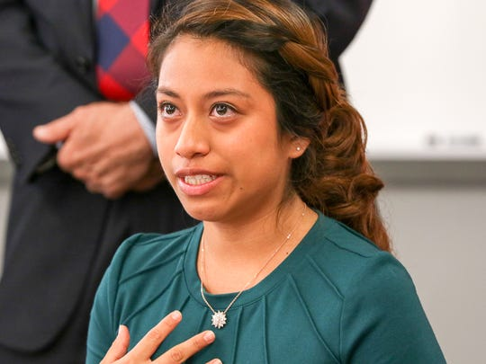 Yeimi Hernandez, 17, of Freehold Borough, talks about the proposed elimination of the DACA program at a news conference at Rutgers University's Labor Education Center in New Brunswick on September 5, 2017.