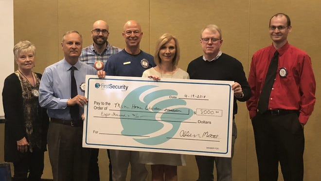 At the Mountain Home Rotary meeting on April 19,Mike Heslep, Rotary Scholarship Chairperson, presented a check for $8,000to be used to fund the Mountain Home Education Foundation Promise. Participating in the donation were: (from left)Jewell Pendergrass, Rotary President;, Heslep;Wes Wood;Scott Tabor;Mollie Morgan, MHEF Executive Director;Lang Zimmermanand Allen Moore.The Mountain Home Education Foundation raises funds for post-secondary student scholarships and for innovative teaching projects. The latest scholarship program the MHEF sponsors is the Mountain Home Promise.The Promise enables Mountain Home graduates for the 2017 and 2018 academic years may attend Arkansas State University Mountain Home tuition free (fees and books are the responsibility of the student).