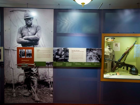 Displays show the history of the Fort Des Moines Museum as a black officer training camp and women's auxillary training center.