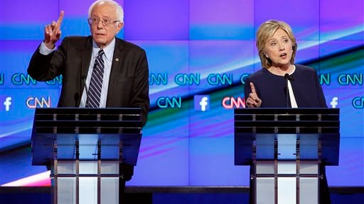 Vermont Sen. Bernie Sanders and presumptive Democratic presidential nominee Hillary Clinton, seen during a debate in 2015.