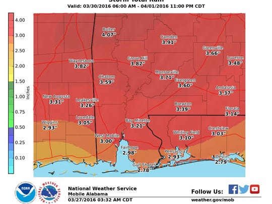 2.9 inches of rain are predicted for Escambia County next week.