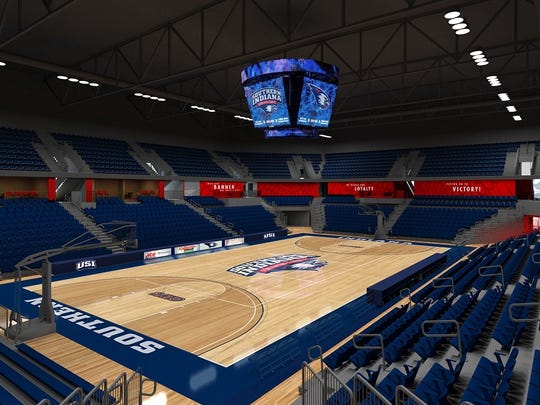A rendering of the inside of USI's new arena.
