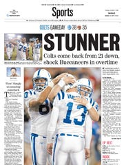 The Star's sports page the day after the Colts staged