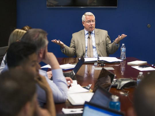 Maricopa County Attorney Bill Montgomery speaks with reporters and editors from The Arizona Republic at the Republic Media Building on May 21, 2018.