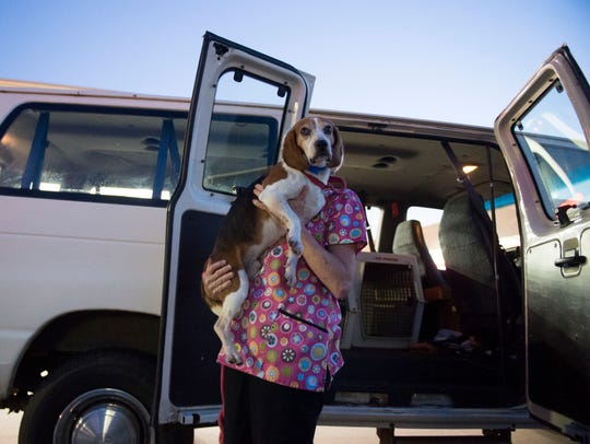 Tammy Rouse of Union County Humane Society carries