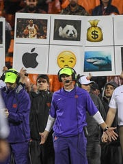 Clemson defensive coordinator Brent Venables communicates at the Georgia Tech game during the third quarter in Memorial Stadium at Clemson on Saturday.